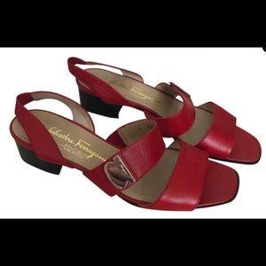 Vintage Salvatore Ferragamo Red Sandals w/Silver